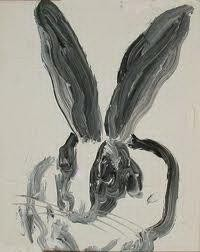 Rabbit Painting - rabbit black and white