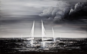 sailing boat Black and White Oil Paintings