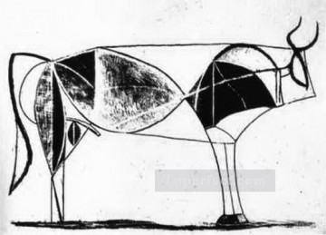 cattle bull cow Painting - The Bull State VII 1945 black and white Picasso