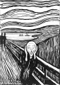 The Scream by Edvard Munch Black and White