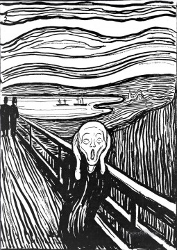 The Scream by Edvard Munch Black and White Oil Paintings