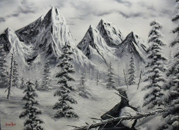 black and white winter Oil Paintings