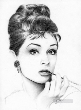 Audrey Hepburn black and white Oil Paintings