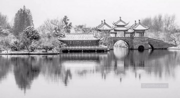 Chinese Garden Black and White Oil Paintings