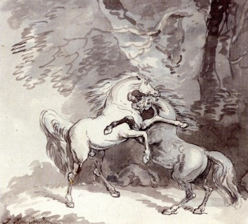 horses horse Painting - Horses Fighting On A Woodland Path Thomas Rowlandson black and white