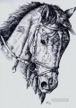 horse pencil sketch black and white