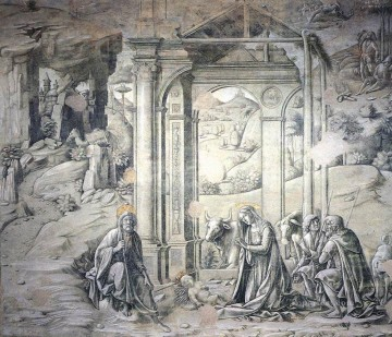 Francesco Canvas - Nativity 1488 religion Sienese Francesco di Giorgio black and white