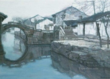 Chen Yifei Painting - Memory of Hometown Twinbridge Chinese Chen Yifei