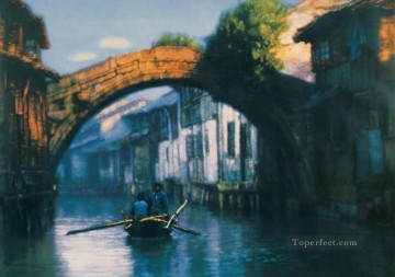 Chinese Painting - Bridge River Village Chinese Chen Yifei