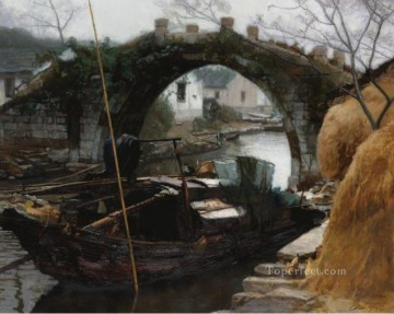 River Villages in Jiangnan Chinese Chen Yifei Oil Paintings