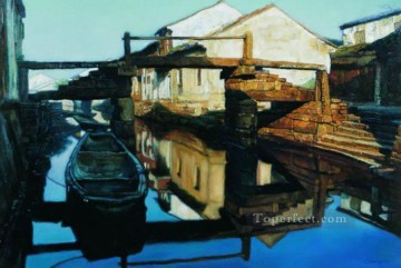 Water Towns Stream Chinese Chen Yifei Oil Paintings