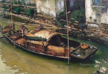 Chinese Painting - Boating Family Chinese Chen Yifei