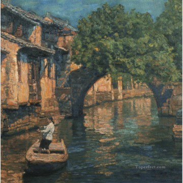 Bridge in Tree Shadow Chinese Chen Yifei Oil Paintings