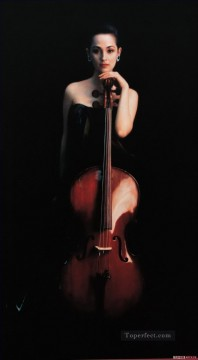 Cello Girl Chinese Chen Yifei Oil Paintings
