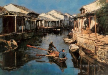 Dip Oars of Hometown Chinese Chen Yifei Oil Paintings