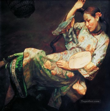 Chen Yifei Painting - Drunk Beauty Chinese Chen Yifei