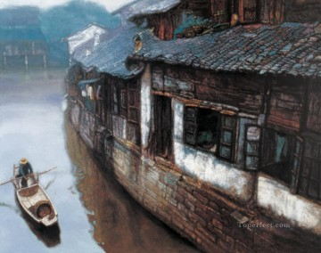 Families at River Village Chinese Chen Yifei Oil Paintings