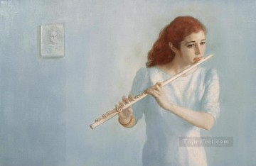 Female Flutist Chinese Chen Yifei Oil Paintings