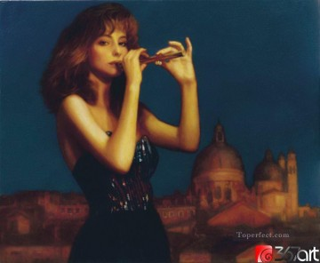 Chen Yifei Painting - Fluting Lady Chinese Chen Yifei