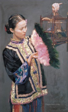 Girl Lifting Cage Chinese Chen Yifei Oil Paintings