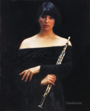 Chinese Painting - Oboist Girl Chinese Chen Yifei