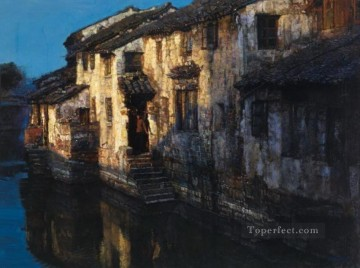 Chen Yifei Painting - River Villages Chinese Chen Yifei