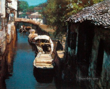 Water Towns Berthing Chinese Chen Yifei Oil Paintings