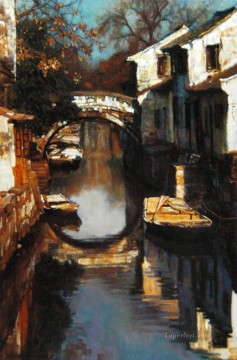 Water Towns Bridge People Chinese Chen Yifei Oil Paintings