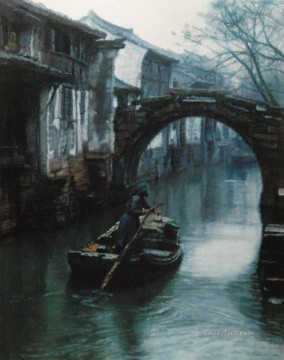 Water Towns Oars Chinese Chen Yifei Oil Paintings