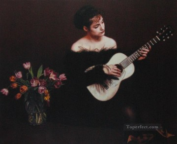 Chen Yifei Painting - Woman Playing Guitar Chinese Chen Yifei