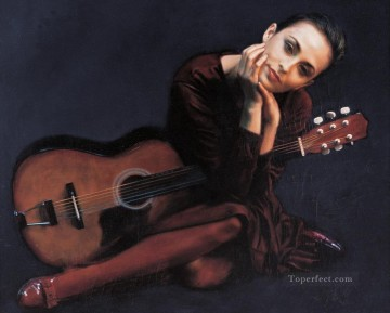 Woman With Guitar Chinese Chen Yifei Oil Paintings
