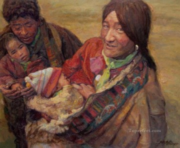 Chen Yifei Painting - Happy Family Chinese Chen Yifei