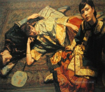 Chinese Painting - Lazy Chinese Chen Yifei