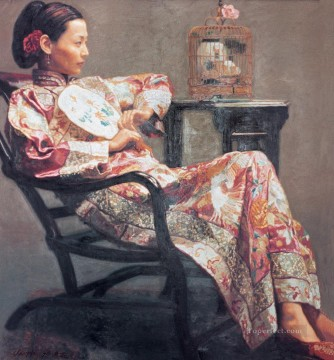 Chen Yifei Painting - Rose and Birds Girl Named Juanjuan Chinese Chen Yifei