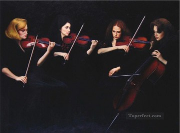 Chinese Painting - String Quartet Chinese Chen Yifei