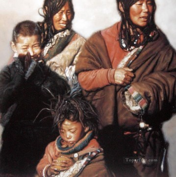 Tibet Canvas - Tibetan Family (2) Chinese Chen Yifei