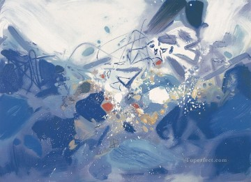 Chinese Painting - Blue fluctuations 2 ZDQ China Abstract