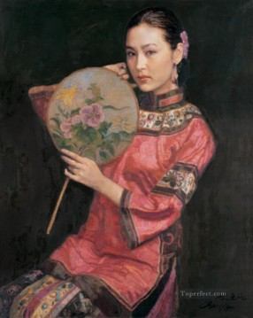 Beauty with Fan Chinese Girl Oil Paintings