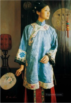 Begonia Chinese Chen Yifei Girl Oil Paintings