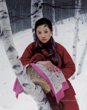 Chinese Girls Painting - Birch Forest WYD Chinese Girls
