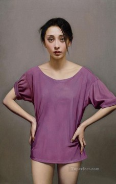 Girl in Purple Chinese Girls Oil Paintings