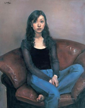 Girl on the couch Chinese Girls Oil Paintings