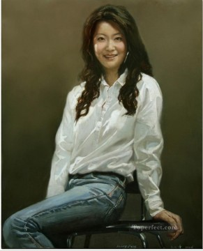 Lady in White Chinese Girls Oil Paintings