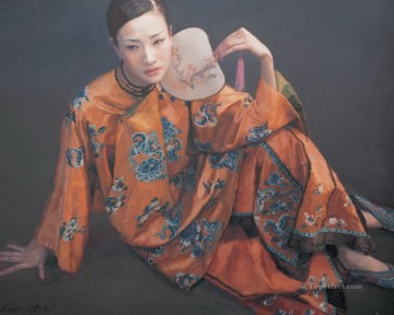 Lady with Fan Chinese Chen Yifei Girl Oil Paintings