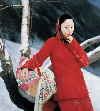 Magpie in Mountain WYD Chinese Girls Oil Paintings