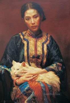 Meditation Chinese Chen Yifei Girl Oil Paintings