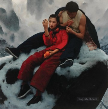 Morning mist in Mountain WYD Chinese Girls Oil Paintings