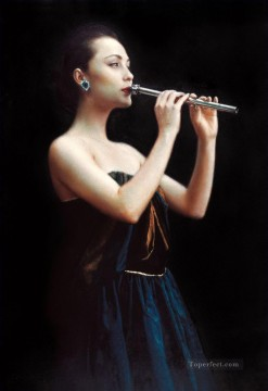 chinese Painting - Night Flute Chinese Chen Yifei Girl
