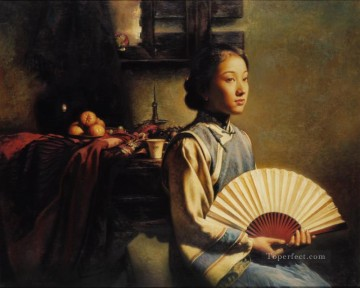 Chinese Painting - Origami fan Chinese girl