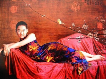 Plum Blossom 2 Chinese Girls Oil Paintings